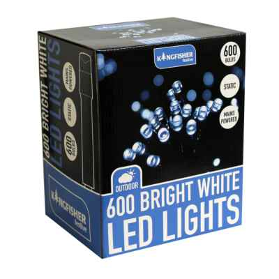 600 LED Static Chistmas Lights White