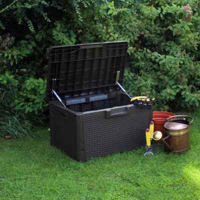 120L Rattan Effect Plastic Garden Storage Chest