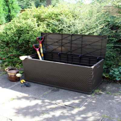 420L Rattan Effect Plastic Garden Storage Chest