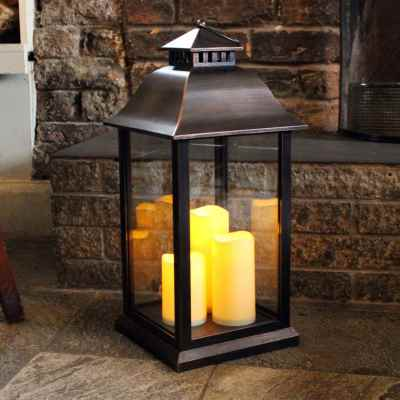 Battery Operated Medium Candle Lantern in Black