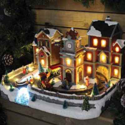 Extra Large Christmas Village Scene w/Cable Cars