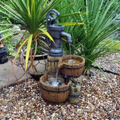 Twin Barrel and Hand Pump Garden Water Feature