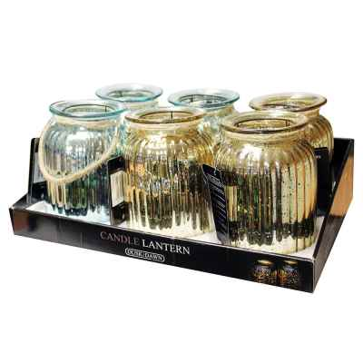 2 Assorted Medium Metallic Glass Candle Jars