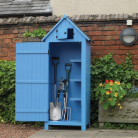 Blue Stained Wooden Garden Shed
