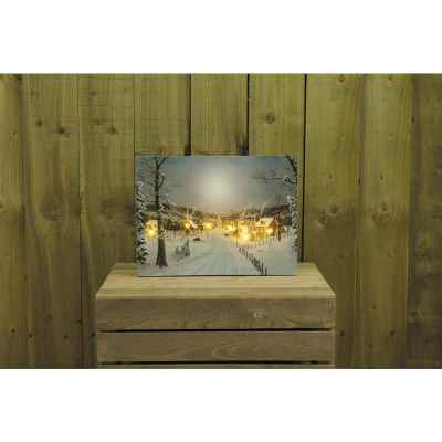 Snowy Town Scene Canvas Print with Flickering LED