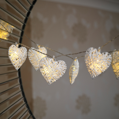 10 Wicker Hearts Battery Powered String Light