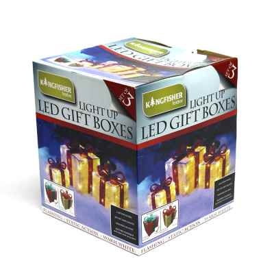Set of 3 LED Light Up Christmas Gift Boxes