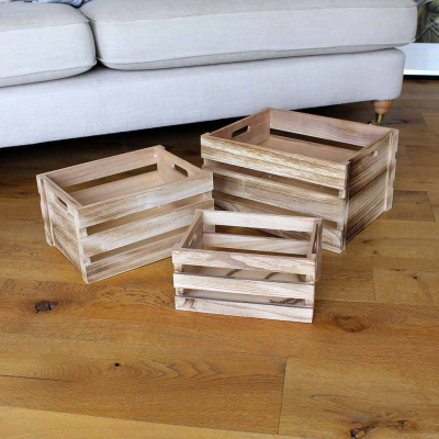 3 Stacking Wooden Crates