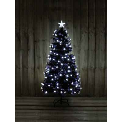 5ft Black FO Tree with Bright White LED Stars