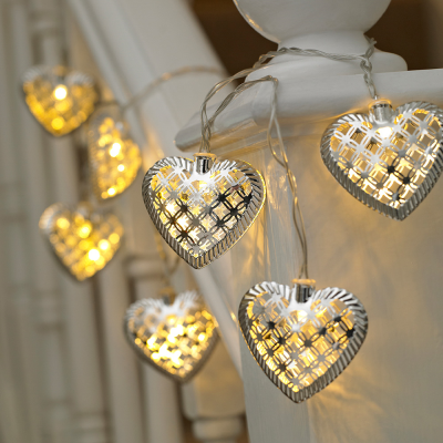 10 Metal Hearts Battery Powered String Light