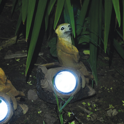 Solar Powered Meerkat on Log Light
