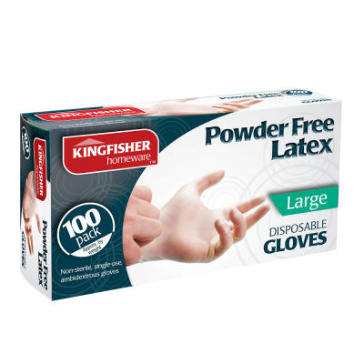 100 Pk Powder Free Latex Gloves Large