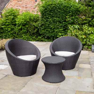 Rattan Effect Table and 2 Egg Chairs Bistro Set