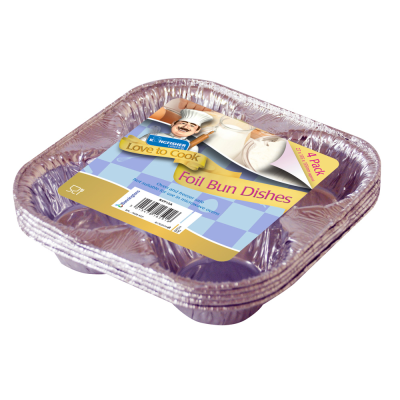4 Pack of 4 Bun Pudding Foil Dishes