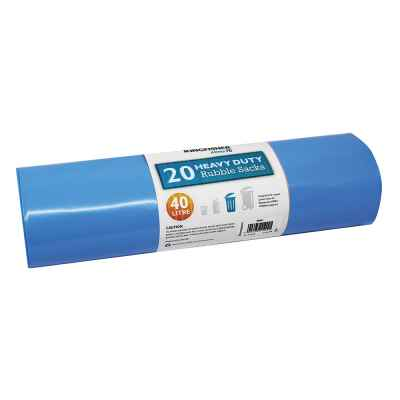 20 Pack of Blue Ultra Strong 40L Rubble Sacks