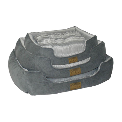 Set of 3 Grey Fur Pet Beds