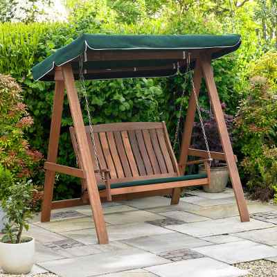 Hardwood Swinging Hammock Bench Seat with Canopy