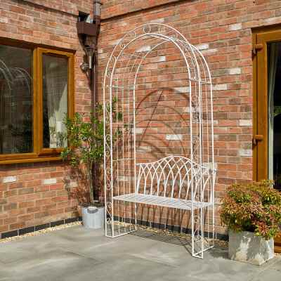 Vintage Cream Garden Arch and Bench