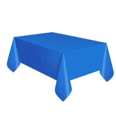 Blue Paper Table Cloth with Plastic Backing