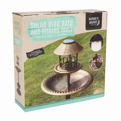 Copper Effect Solar Bird Bath and Feeding Station