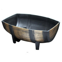 Medium Oak Barrel Effect Plastic Trough Planter