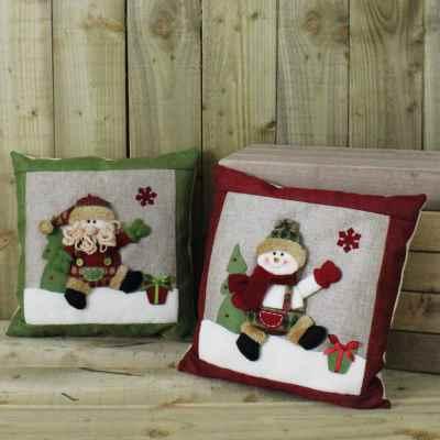 2 Assorted Hessian Santa & Snowman Cushions