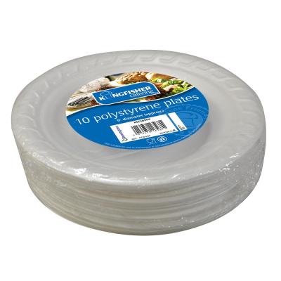 10 Pk 9 Inch White Polystyrene Disposable Plates