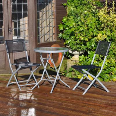 3 Piece Black Bistro Patio Garden Furniture Set