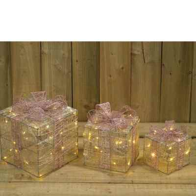 3 Pack Battery Operated Champagne Silk Gift Box