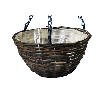 14 inch Dark Rattan Hanging Basket
