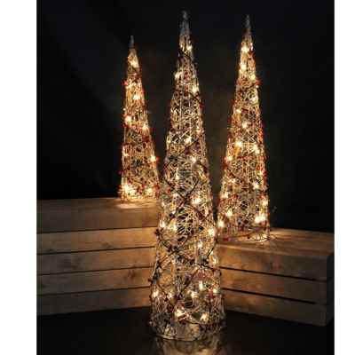 3 Pack Mains Powered Pyramid Tree with Berries