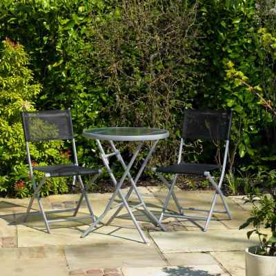 3 Piece Black Bistro Patio Garden Furniture Set