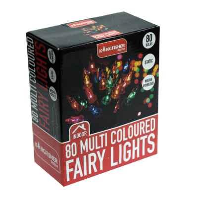 80 Multi Coloured Christmas Fairy Lights