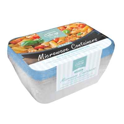 5 Pack of Microwave Food Containers with Blue Lids