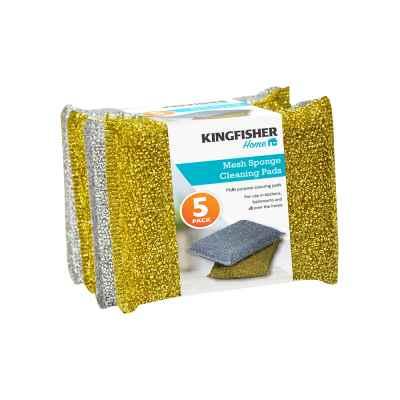 5 Pack Metallic Sponge Scourer Pads