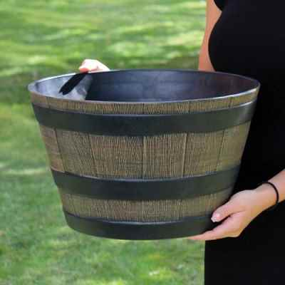 Small Wooden Barrel Effect Plastic Planter