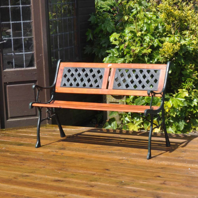 Wood and Cast Metal Garden Patio Bench