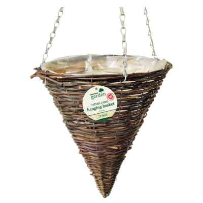 12 inch (30cm) Dark Rattan Cone Hanging Basket