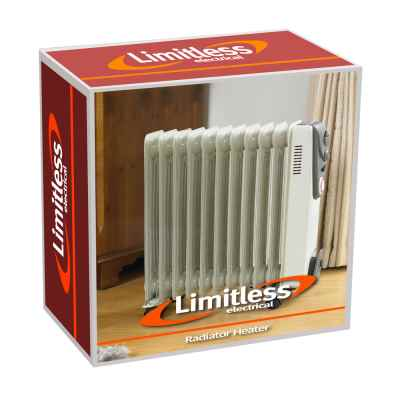 2500w White 11 Fin Oil Filled Radiator with Timer