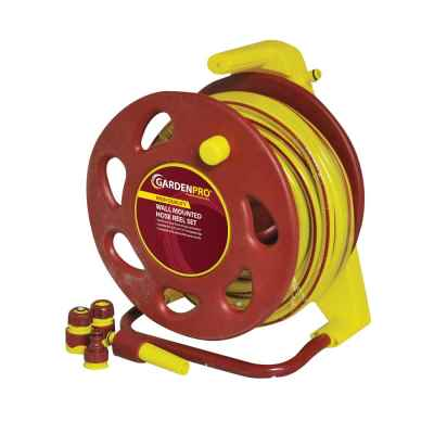 Garden Pro 15m Wall Mountable Hose Reel Set