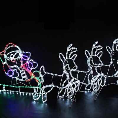 Santa, Reindeer and Sleigh Rope Light