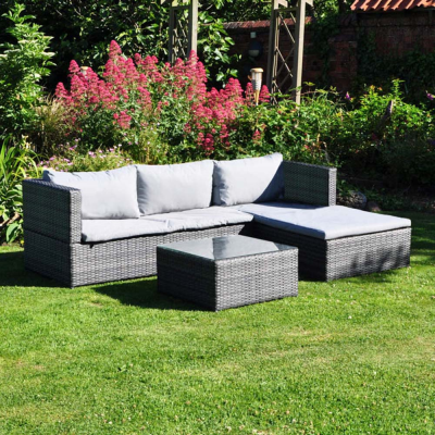 Rattan Effect Corner Sofa and Table Set