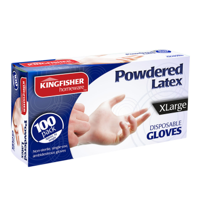 100 Pk Powdered Latex Gloves XL