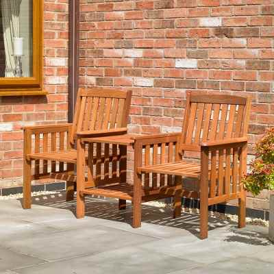 Hardwood Garden Patio Love Seat