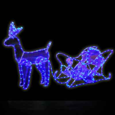 Standing Reindeer and Sleigh Ice Blue Rope Light