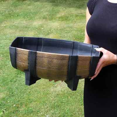 Small Oak Barrel Effect Plastic Trough Planter