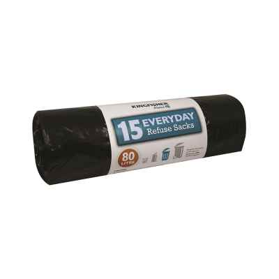15 Pack of Black Standard 80L Refuse Sacks