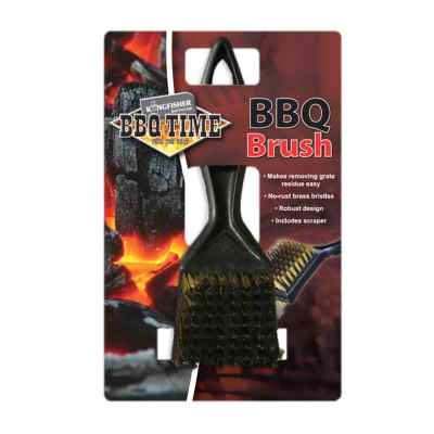 BBQ Brass Bristle Cleaner Brush with Metal Scraper