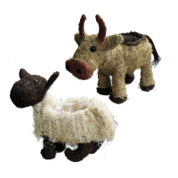 Small Rattan Cow and Sheep Planters