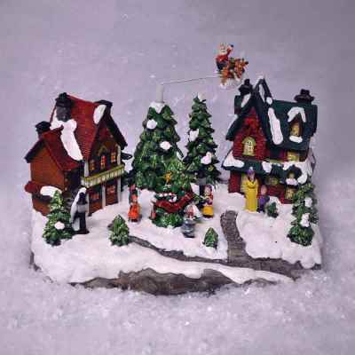 Battery Operated Flying Santa Village Scene